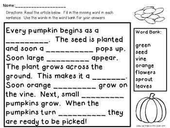 Pumpkin Life Cycle Freebie! Cloze Activity