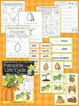 Pumpkin Life Cycle Sequencing {Pocket Chart Activity • Cut and Paste Pack}