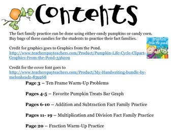 Pumpkin Lifecycle Math Activities - Bar Graphs, Fact Families, Halloween
