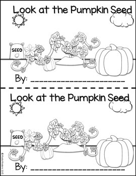 "Pumpkin Lifecycle emergent reader: ""Look at the Pumpkin Seed"""