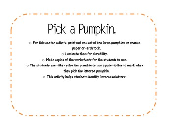 Pumpkin Literacy Activity - Lowercase Letters