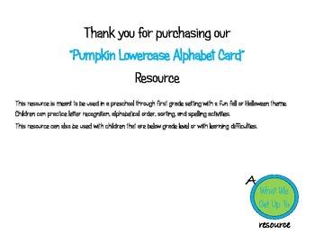Pumpkin Lowercase Alphabet Cards