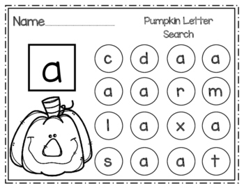 Pumpkin Lowercase Letter Search