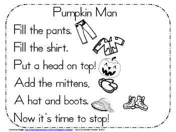 Pumpkin Man Pocket Chart Poetry Activity
