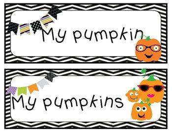Pumpkin Match (Subject Verb Agreement) Halloween/Pumpkin Theme Center