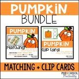 Pumpkin Match and Clip Card Bundle for Toddlers, Preschool
