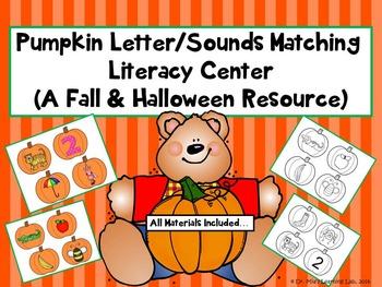 Pumpkin Matching Letter/Sounds Literacy Center (A Fall & Halloween Resource)