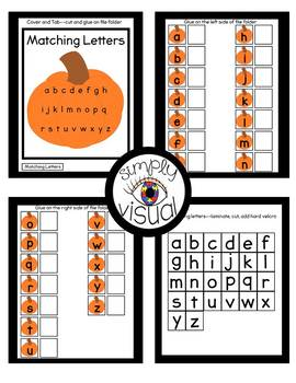 Pumpkin Matching Letters File Folder Activity