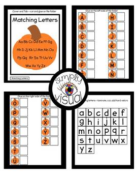 Pumpkin Matching Letters File Folder Activity