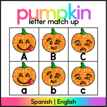 Pumpkin Matching Letters / Spanish and English!