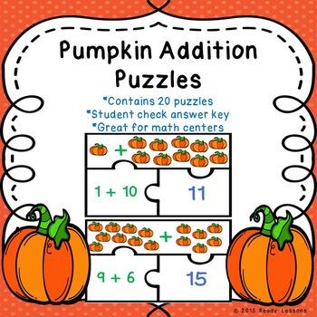 Pumpkin Addition within 20 Game Puzzles for Pumpkin Math Center 1.OA.6 & 2.OA.2
