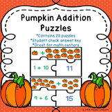 Fall Addition to 20 Game Puzzles Pumpkin Math Activity 1st Grade