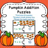 Halloween Math Addition within 20 Game Pumpkin Math Activity Fall Math Activity