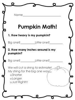 Pumpkin Math with a REAL pumpkin!