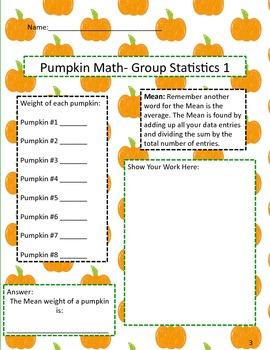Pumpkin Math: A Measurement, Mean, Decimal, & Multiplication Math Activity