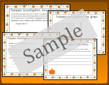 Pumpkin Math Activities - Measurement, Area, Perimeter, Graph, Arrays
