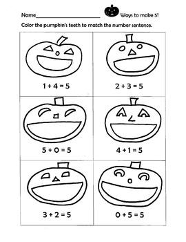Pumpkin Math Adding To Five
