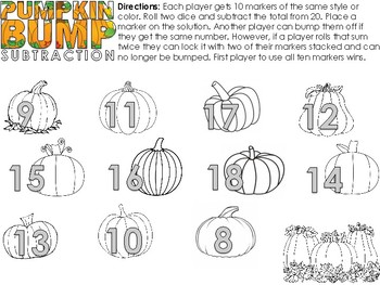Pumpkin Math Bump Game Simple addition and subtraction