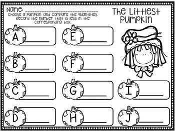 Pumpkin Math Centers for Kindergarten
