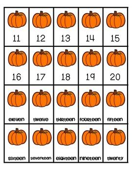 Pumpkin Math Fluency & Number Sense Cards | English | 11-20