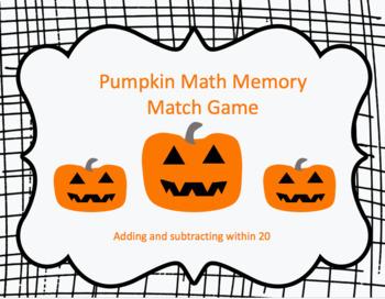 Pumpkin Math Memory Match Game