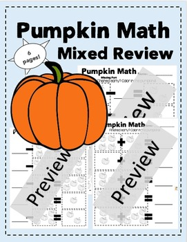 K, 1st, 2nd Grade Pumpkin Math Mixed Review