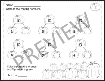 Pumpkin Math Numbers to 10