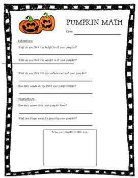 Pumpkin Math Observations, Predictions, and Measurements