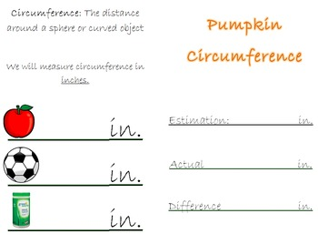 Pumpkin Math Recording Booklet