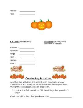 Pumpkin Math-Study of Data Landmarks-Mean, Median, Mode, Range, Minimum, Maximum
