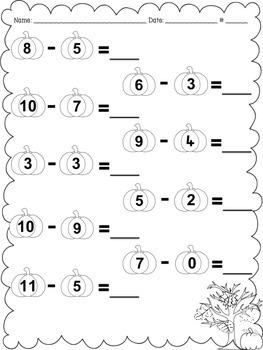 Pumpkin Math - Subtraction