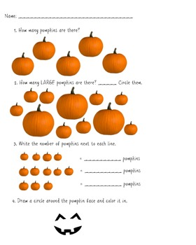 pumpkin math worksheet by the teacher  teachers pay teachers
