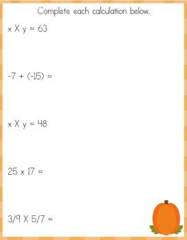 Pumpkin Middle School Learning Pack