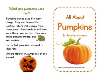 Pumpkin Mini-Book: Guided Reading, Center or Independent Work