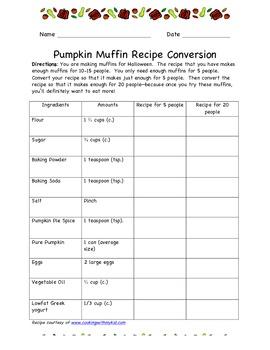 Recipe Conversion & Fractions-- Pumpkin Muffins