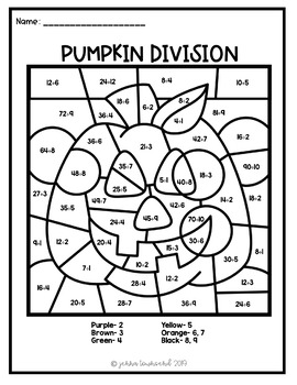 pumpkin multiplication division color by number by jenna townsend. Black Bedroom Furniture Sets. Home Design Ideas
