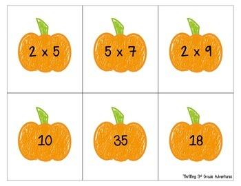 Pumpkin Multiplication Matching FREEBIE!!!