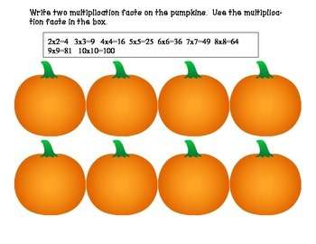 Pumpkin Multiplication Practice