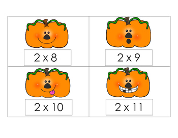Pumpkin Multiplication Scoot or Flashcards 2s