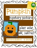 Pumpkin Mystery Picture - Place Value, Add, Subtract - dif