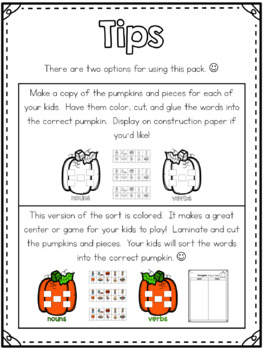 Pumpkin Nouns & Verbs {craft or center!}