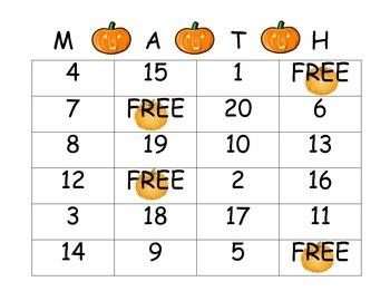 Pumpkin Number Bingo