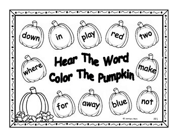Picking Words In The Pumpkin Patch - Pre-Primer High Frequency Word List