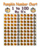 Pumpkin Number Charts - 1 to 100 - 5 different color coded  with response sheets
