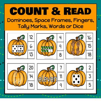 Pumpkin Number Clip It Cards - S