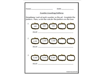 Number Patterns and Rules (Counting by 1s, 10s, 100s, 1000s, etc.)