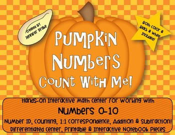 Pumpkin Number Fun 0-10!  Center, Printables, Interactive