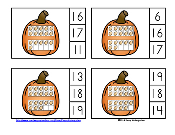 Pumpkin Number Fun Math Centers Numerals to 20