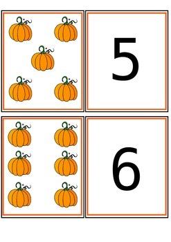 Pumpkin Number Match Cards 1-20