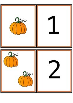 Pumpkin Number Match Cards 1-20